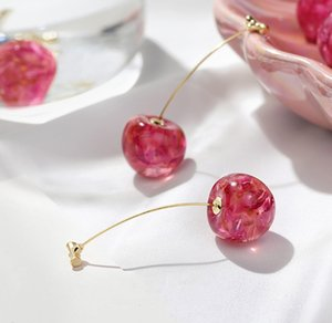 New Arrival Dominated Acrylic fashion Geometric fine Women Drop Earrings contracted sweet cherry modelling long earrings Christmas gift