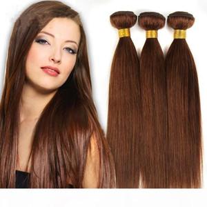 Große Discount-Grade 7a !! # 6 Hellbraun Brasilianische Jungfrau Remy Hair Seidiges Gerade Weave 3pcs Lot Schokolade Mokka Gerade Menschenhaarbündel