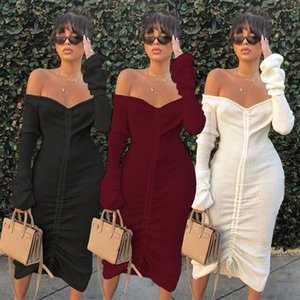 New Stylish Women Women Designer Dresses New Stand Collar Manga Longa Meados Vestidos Casuais Moda 20SS Mulheres Designer Roupas