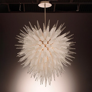White Clear Hand Made Mouth Blown Horn Shape Glass Chandelier Lighting Customized Indoor Lighting for Villa Deco