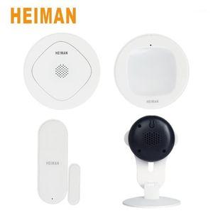 Heiman Smart Gateway Zigbee Wireless Door Window Sensor والكشف عن الحركة بالأشعة تحت الحمراء مع Smart IP-Camera Security Alarm Kit Set1