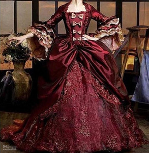 Vestidos de 16 Anos Burgundy Ball Gown Quinceanera Dresses Vintage 3 4 Sleeve Bow Lace Formal Puffy Dress Debutante Masquerade Dress