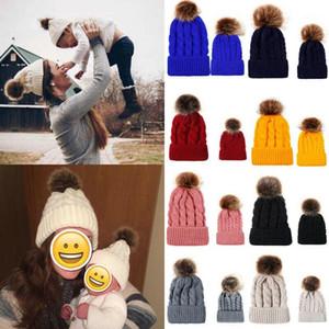 Women Baby Kids 2pcs Warm Winter Hat Knit Wool Beanie Fur Pom Bobble Crochet Cap1