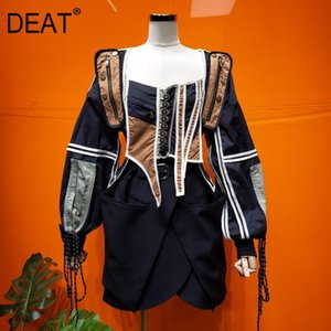 DEAT new color square collar sleeveless vest V-neck and contrast colors spliced waist jacket two pieces set WN67901 201124