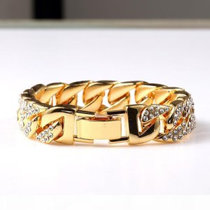 Exaggerated Heavy Extra Coarse 24K Solid Gold MIAMI CUBAN LINK Shiny Full Diamante Bracelet Hip Hop Bling Jewelry Hipster Men Gold Wristband