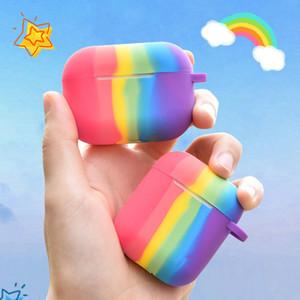 ل rainbow airpods الموالية حالة مطلية بالذهب الفاخرة ل rainbow apple airpods حالة
