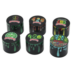 4-layer cigarette grinder color printing water droplets metal tobacco crusher smoking set grinde zinc alloy flat plate 5CM