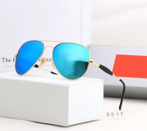 Новый дизайн поляризованные роскоши луча солнцезащитные очки мужчины женщин пилотные солнцезащитные очки UV400 Очки Bans Очки металлические рамки Polaroid Lens 3517 с коробкой