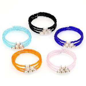 Elastic Pearl Bracelets 3 Layers Crystal Beads Freshwater White Pearl Bracelet Charm Bangles Women Jewelry Gifts
