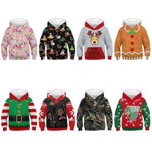 Christmas Vest Sweatshir Children Winter Long Sleeve 3D Hoodies Animal Print Sweatshirts Kids Fashion Pullover Jumper Loose Tops