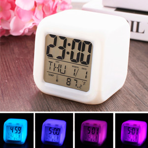 Colorful LED Alarm Clock Square White Night Light Clock Cute Electronics Silent Clocks Temperature Date Time Digital Display Xmas Gift