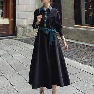 Korean Women Dress Retro Long-sleeved Waist Thin And Temperament Contrast Color Fashion Mid-length Dress