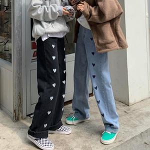 SHENGPALAE Love Printing Jeans Winter 2020 Loose High Waist Floor Mops Streetwear Female Straight Cowboy Pants Trousers 5A892