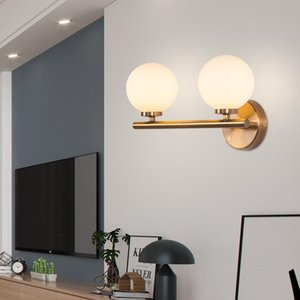 Simple metal wall lamp living room Decorative glass ball Led mirror light bedroom bedside hotel corridor aisle lights