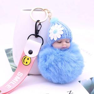 Baby Doll Toy Dropshipshipcute Sleeping Baby Doll Key Cains per le donne Borsa Toy Gey Ring Fluffy Pom Pom Faux Peluche Portachiavi