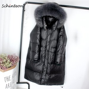 Schinteon New A-lined Down Jacket Real Fur with Hood Loose Winter Warm Long Outwear Over Size Coat Korean Style