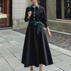 Sisjuly Korean Style Women Dress Retro Long sleeves High Waist Thin Color Block Fashion Mid-length Dress Autumn Street Wear