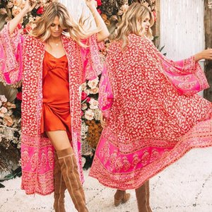 Pink Floral Print Boho Beach Cover Up Дамы Винтаж Праздник Kimono Кардиган Свободные Длинные Harajuku Hipster Beachwear Beachwear