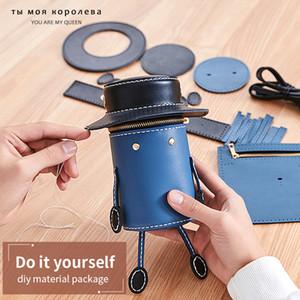 9 teile / satz handgefertigte handtasche leder zubehör für diy mädchen umhängetaschen frauen tasche 2020 neue mini-reizende runde crossbody tasche