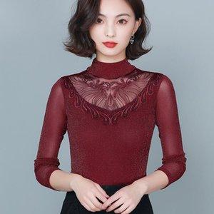 New 2020 Autumn winter woman tshirts Fashion Turtleneck Mesh t-shirt Sexy Hollow out women tpos and shirt blusas