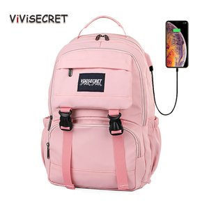 New Laptop Women Backpack External USB Charge Computer Bagpacks Anti-Theft Waterproof School Bag for Teenage Girls Black