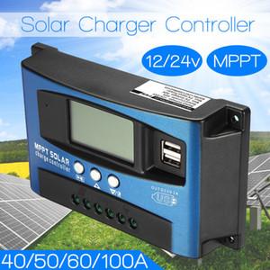 Solar MPPT 100A 60A 50A 40A 30A Controller di carica Dual USB Display LCD LCD Dual 12V 24V Regolatore del caricabatterie del pannello di cella solare con carico