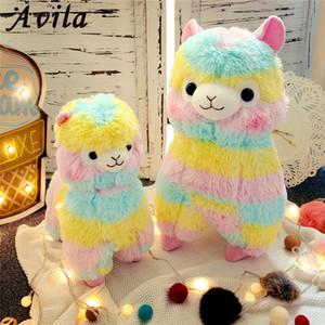 Rainbow Alpaca Plush Toy Toy 3 Размер Куклы для детей Высокое Качество Мягкие хлопчатобумажные Детские Бринедос Животные Фаршированные Овечья Кукла для подарка LJ201126