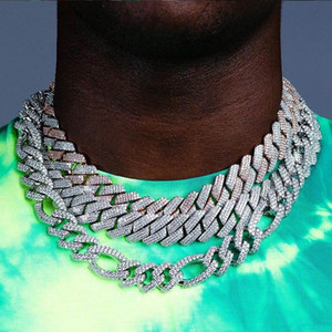 Big 19MM Miami 3Row CZ Cuba Chine Collier lourd couleur Argent Or Glacé Zircon Collier Hommes Hip Hop Bijoux Fashion