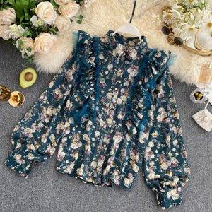 French style retro floral shirt women's autumn dress 2020 new heart machine mesh Ruffle edge versatile fashion top fashion