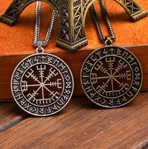 Vintage Norse Viking Vegvisir Rune Round Pendant Viking Compass Totem Amulet Necklace1