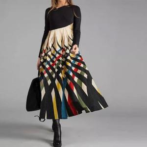 2020 O-Neck Women Winter Tshirt Long Sleeve Fashion Dress Female Casual Chic Printing Ladies Work Midi Autumn Dress Z1202