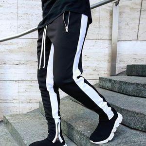Mens Joggers Zipper Pantaloni Casual Pantaloni Fornes Sportswear Tracksuit Bottoms Skinny Sweatpants Pantaloni Pantaloni Neri Pannelli Jogger Track Pants1