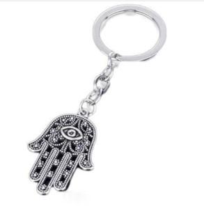 30pcs lot Key Ring Keychain Jewelry Silver Plated Evil Eye Hamsa Fatima Hand Charms pendant for Key accessories 19*17mm