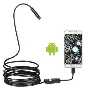 9pcs / lot 7mm Fotocamera Endoscopio Flessibile flessibile IP67 Impermeabile 6 LED regolabili Ispezione BoresCope Camera Micro USB OTG Tipo C per PC Android