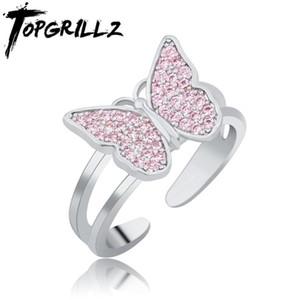 TopGrillz Alta Qualidade Borboleta Anel Rosa Anel Zircão Abertura de Cobre Butterfly para Mulheres Moda Jóias Para O Presente