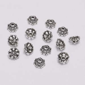 100pcs Lot 8mm 7 Petals Bead Caps Hollow Flower Loose Sparer Apart End Bead Caps For Diy Jewelry Making Findings H jllnyh