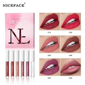 NICEFACE Nude Velvet Liquid Lipstick Kit with Lip Base Oil 6 Colors box Lips Makeup Cosmetics Matte Lip Gloss Set Waterproof Pen