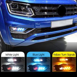 2PCS Front Bumper Light LED Fog Lights with Turn Signal DRL Daytime Running Light for VW Amarok 2016 2017 2018 2019