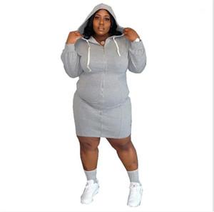 Plus Größenkleider Mode Mit Kapuze Designer Casual Kleider Sexy Designer Cardigan Damen Kleidung Soild Farbe Womens