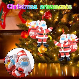 2020 3d Christmas Ornament Santa Wearing A Face Mask Decorate Christmas Tree Snowman Decoration Kids New Year Gift #YJ