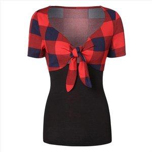 Women tshirt Casual Color Block Plaid Panel Bow Knot Bandage summer ladies Fashion T Shirt slim soft ropa mujer verano 2019 Top