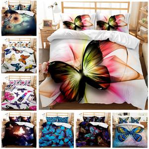 Butterfly-Serie Bettwäsche-Sets Eleganter König Königin Größe Quilt Cover Kissenbezug Duvet Bett 3D Digitaldruck Quilt Cover Kit Cool