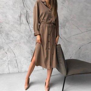 DabourFeel Moda Saten Rahat Cepler Düğme Aşağı Elbise Kemer Kadınlar Ile Yaka Uzun Kollu Midi Elbiseler 2020 Sonbahar