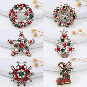 Fashion Rhinestones Brooch Gift Christmas Tree Xmas Boots Jingling Bell Santa Claus Brooches Pins for Women Jewelry Kimter-X879FZ