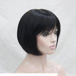 2017 Новый Super Fashion Очаровательный Моноволокна Откроется Черные Человеческие Волосы Короткие Прямые Боб полный парик
