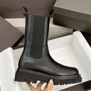 2021 Nuove Donne Autunno e Inverno Stivaletto Caviglia Pneumatico Pneumatico in pelle Stivali Stivali da donna Legger Boots Taglia 35-40