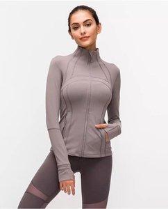 L-ceket sonbahar kış yeni fermuar ceket hızlı kuruyan yoga giysi uzun kollu başparmak delik eğitim koşu ceket kadınlar ince spor ceket