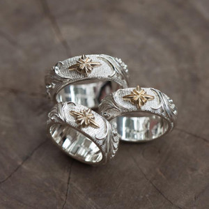 Silver Star Fire Liao handmade convex original retro temperament men and women couple ring jewelry