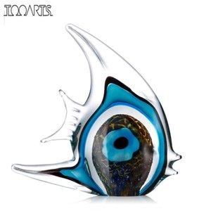 Синяя полоса Тропическая рыба отеля отеля стекло Скульптура украшения дома украшения стекло фигурка домашнего декора украшения аксессуары для