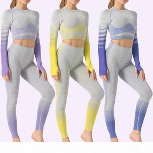 Seamless Women Yoga Set Fashion Ladie Gradual Change Tight Hip Long Sleeve High Waist Yoga Suit Gym Clothes Seamless Sport Suit